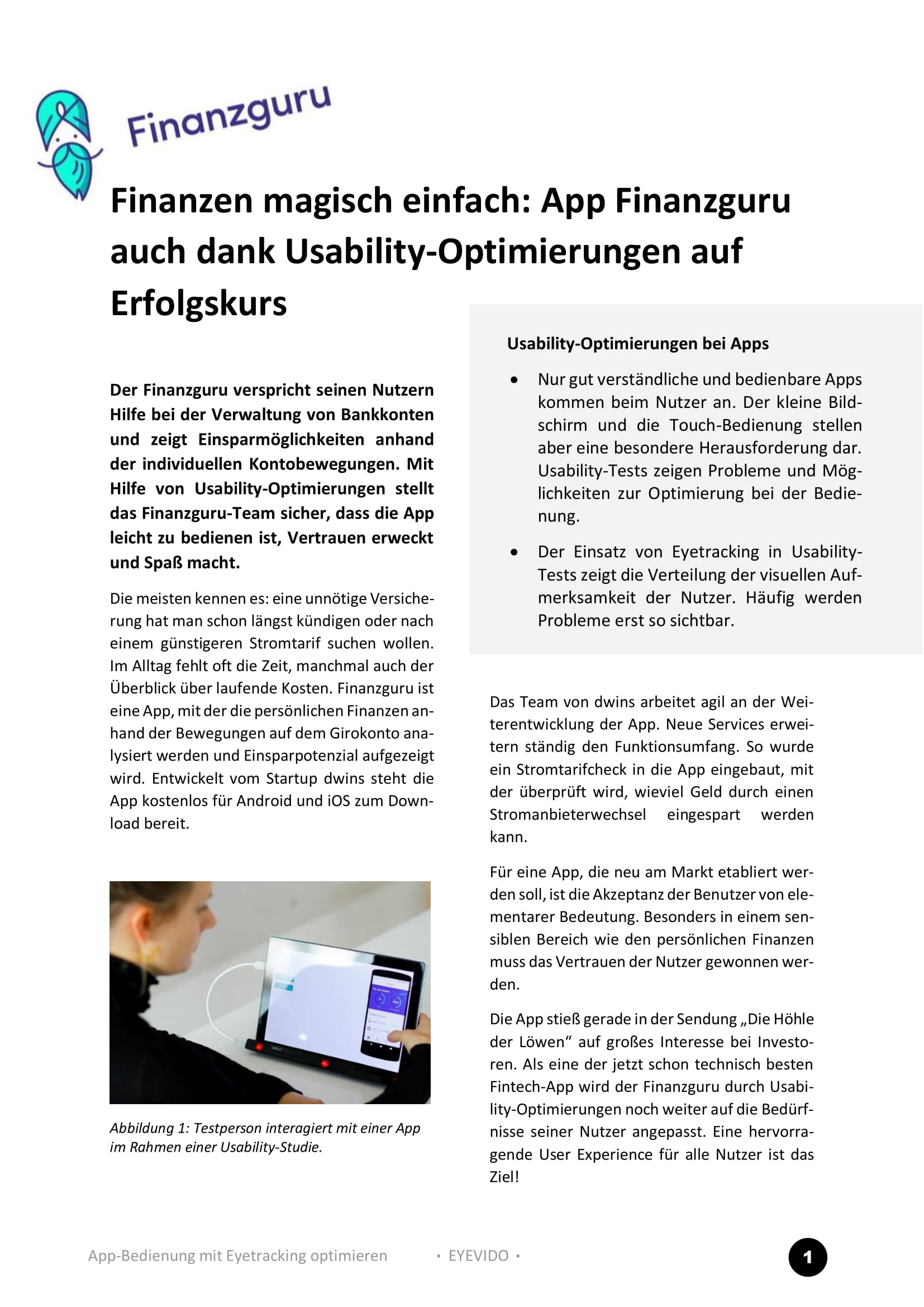 <i>Case Study:</i> Finanzguru App also on the road to success thanks to usability optimizations