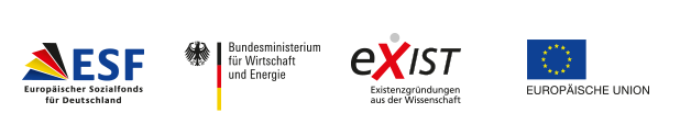Logo ESF; Bundesministerium für Wirtschaft und Technologie; EXIST Gründerstipendium; Europäische Union